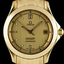 Omega 18k Yellow Gold Brushed Champagne Dial Seamaster Gents