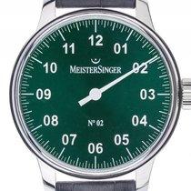 Meistersinger No.2 Einzeigeruhr Stahl Handaufzug Armband Leder...