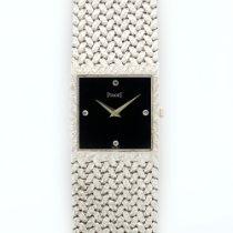Piaget White Gold Rectangular Onyx & Diamond Watch