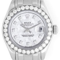 Rolex 18k White Gold Crystal Dial Pearlmaster Ladies Watch 80299