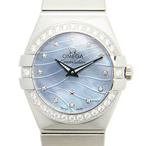Omega Constellation Stainless Steel With Diamonds Blue Quartz...