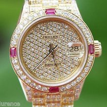 Rolex President Ladies 18k Yellow Gold Watch Pave Diamond Ruby...