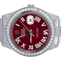 Rolex Mens Rolex Datejust II 116300 Red Dial Iced Out 41MM...