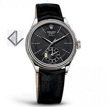 Rolex Black Guilloche Index White Gold Black Leather  - 50529