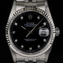 Rolex Stainless Steel Black Diamond Dial Datejust Gents 16234