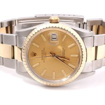 Rolex Mens 18K/SS Date - Champagne Stick Dial - Oyster Band -...