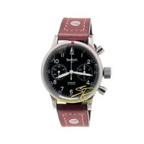 Hanhart Admiral 40 mm Automatic Brown Leather Strap Black Dial...