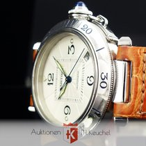 Cartier Pasha Date Automatic Stahl Ldb. Faltschliesse Glasbode...