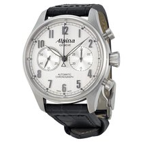 Alpina Automatic Chronograph Silver Dial Black Leather...
