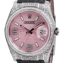 Rolex DateJust White Gold Diamond Set Pink Dial Leather Strap...