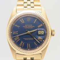 Rolex Datejust 18k Yellow Gold Blue Dial Ref. 1601 (Rolex Box)