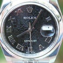 Rolex Mens Ladies 36mm Stainless Steel Datejust Black Jubilee...