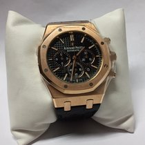Audemars Piguet Royal Oak Chrono 18k Rose Gold Black Dial