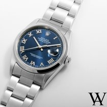 Rolex Steel 36mm DATEJUST Electric Blue Roman w/ Oyster Band...