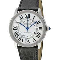 Cartier W6701010 Ronde Solo in Steel - on Black Leather Strap...