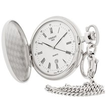 天梭 (Tissot) Savonnettes White Dial Swiss Quartz Pocket Watch...