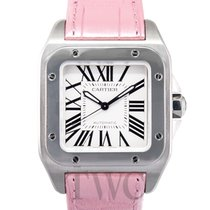 까르띠에 (Cartier) Santos 100 Steel/Pink Leather - W20126X8