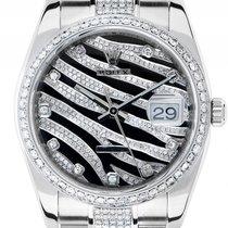 Rolex Date Custom Safari Zebra Dial Stahl Weißgold Diamond...