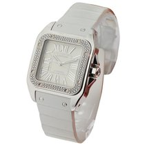 Cartier WM50460M Santos 100 Mid-size - Diamond Bezel - White...