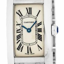 Cartier Tank Americaine 18k WHT Gold Silver Dial Women Watch...