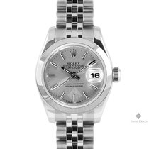 Rolex Datejust Stainless Steel Silver Stick Dial Smooth Bezel...