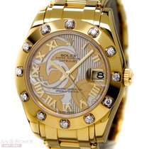 Rolex Pearlmaster Medium Ref-81318 18k Yellow Gold Box Papers...