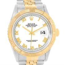 Rolex Datejust Turnograph Steel 18k Yellow Gold White Dial...
