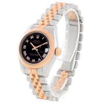 Rolex Datejust Ladies Steel 18k Rose Gold Black Dial Watch 179161