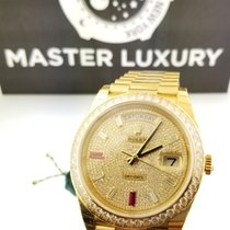 Rolex 228348RBR Day-Date Pave Diamond Ruby Dial Yellow Gold