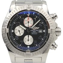 Breitling Super Avenger A13370 Black Arabic 48mm Stainless...