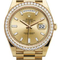 Rolex Oyster Perpetual Day-Date Champagne Diamond Dial 18K...