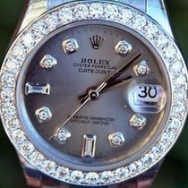 Rolex Midsize Stainless Datejust Slate Mother Of Pearl Diamond...