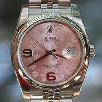 Rolex Mens Ladies Full 36mm Datejust Stainless Steel Pnk...