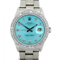 Rolex Date Men's 34mm Blue Mother Of Pearl Dial Stainless...