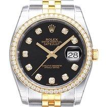 Rolex Datejust 36 Edelstahl Gelbgold Diamant 116243 Schwarz...