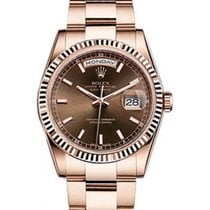 Rolex Day-Date 36 118235-CHOSO Chocolate Index Fluted Rose...
