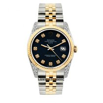 Rolex Date Unisex 34mm Navy Blue Dial Gold And Stainless Steel...
