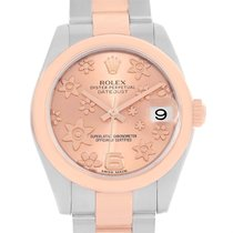 Rolex Datejust Midsize Steel Rose Gold Pink Floral Dial Watch...