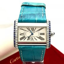 Cartier Divan Ss Ladies Watch W/ Diamonds & Diamond Cut...