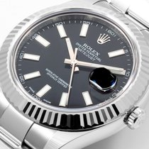 Rolex SS Mens Datejust ll 41mm Black Stick - Box & Papers