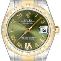 Rolex Datejust 31 Gelbgold Diamant Lünette 178343 Olive Grün R...