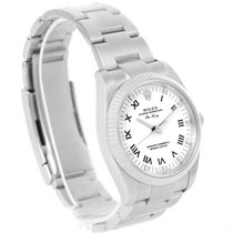 Rolex Air King Steel 18k White Gold Roman Dial Steel Watch 114234