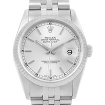 Rolex Datejust Stainless Steel White Gold Silver Dial Mens...