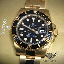 Rolex Submariner 18k Yellow Gold Black Ceramic Mens Watch...