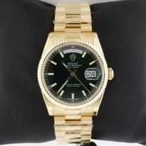 Rolex 118238 Day Date GREEN Index Dial President NEW 18k...