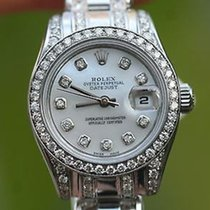 Rolex Ladies 18k White Gold 3cts Diamonds Masterpiece Band...