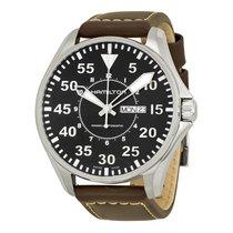 Hamilton KHAKI AVIATION PILOT AUTO Black Leather Strap H-64715535