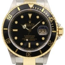 Rolex Submariner 16613 18k Yellow Gold Black No Holes Gold-Thr...