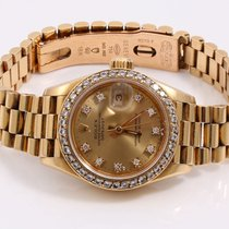 Rolex Ladies 18K Gold President- Factory Diamond Dial -...
