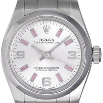Rolex Ladies Oyster Perpetual No-Date Pink Index Stainless...